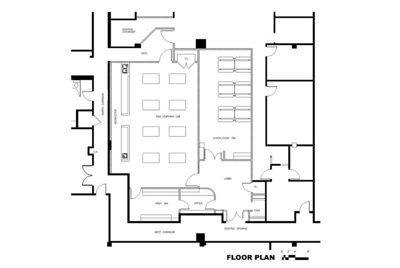 DNA Learning Center West, North Shore Long Island Jewish Health System, Floor Plan