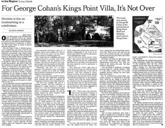 In The Press - George Cohan's Estate, In The Region By Diana Shaman